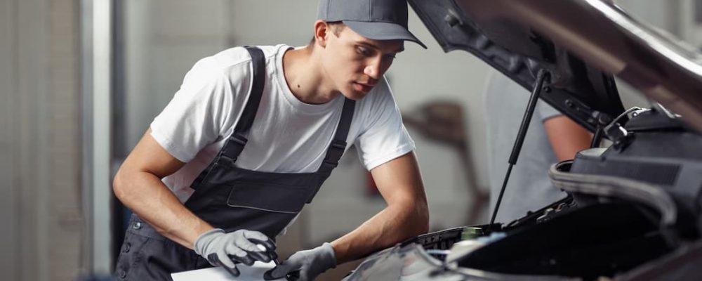 Pracownik warsztatu sprawdza tabliczkę znamionową auta